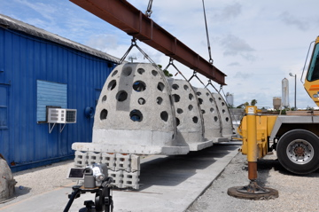The answer to breakwaters and sand accretion starts with the Smart Reef, 4 Goliath Balls attached with an articulating mat deployed as a unit.